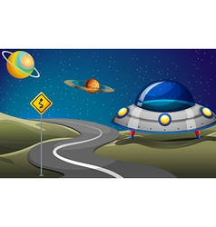 A road near the planets vector image