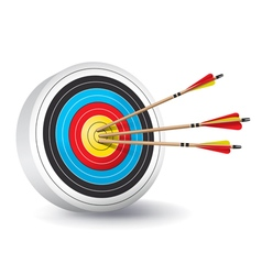 Archery target with arrows in the bullseye vector