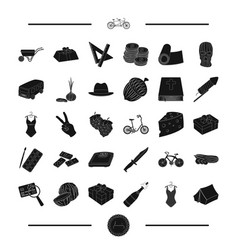 Art transport and other web icon in black style vector