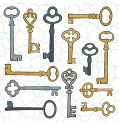 Beautiful hand drawn vintage keys collection vector image vector image