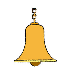 Bell with chain antique traditional vector