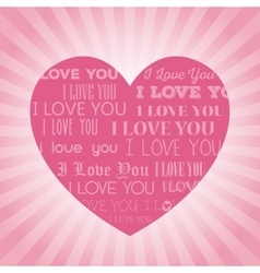 Big pink heart i love you lettering light vector