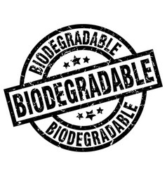Biodegradable round grunge black stamp vector