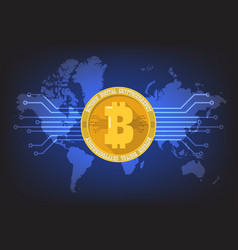 Bitcoin digital cryptocurrency with world map vector