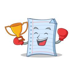 Boxing winner notebook character cartoon design vector