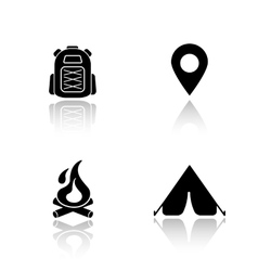 Camping drop shadow icons set vector image vector image