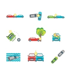 Cartoon Car Crash Set Different Variants Accidents vector image