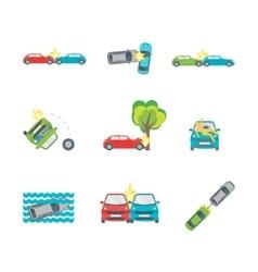 Cartoon car crash set different variants accidents vector
