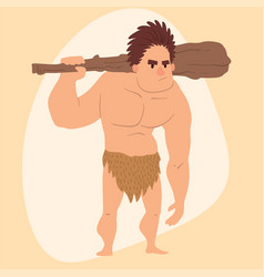 caveman primitive stone age cartoon man vector image vector image