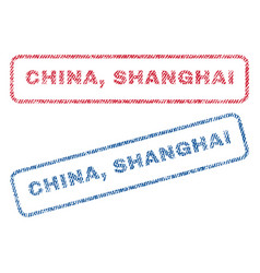 China shanghai textile stamps vector