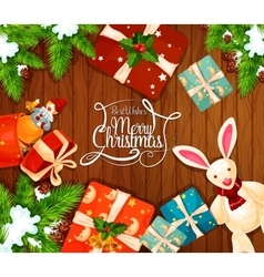 Christmas gift on wooden background greeting card vector image
