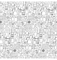 Decorative cosmetics doodle seamless pattern vector image