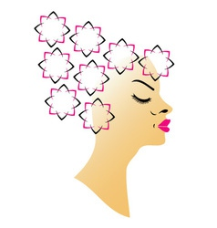 Floral hairstyle vector image