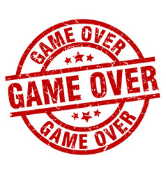 Game over round red grunge stamp vector