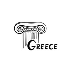 greece symbol ionic column sign and lettering vector image