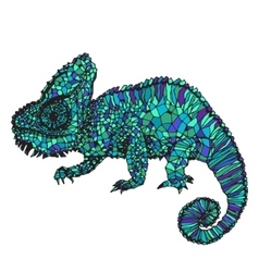 Hand-drawn chameleon vector