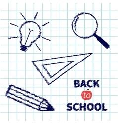 Handdrawn doodle Magnifier pencil light bulb vector image