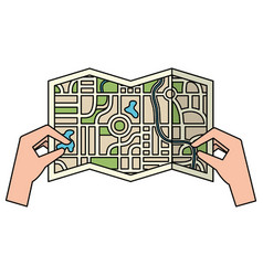 Hands with paper map guide icon vector