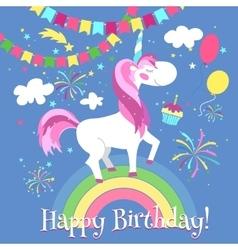 Happy birthday card with cute unicorn vector