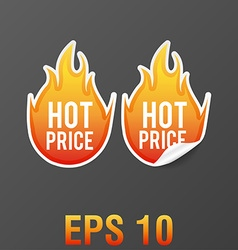 hot fire price stickers eps 10 vector image