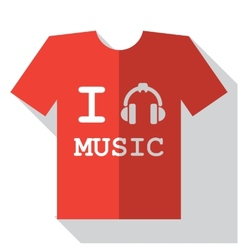 I love music icon vector image