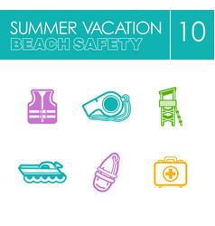 Lifeguard beach safety icon set summer vacation vector