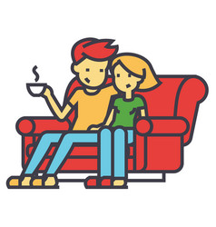 man and woman sitting on the sofa at home concept vector image vector image