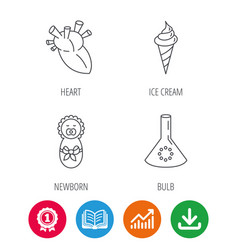Newborn heart and lab bulb icons vector