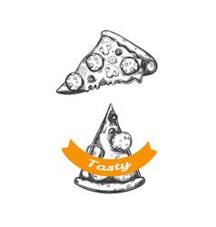pizza slice emblem 2 vector image
