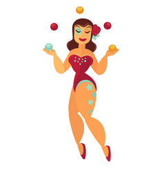 Prestidigitator woman juggling with balls in vector