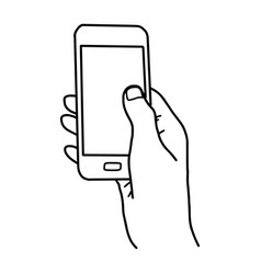 right hand holding smartphone with blank space vector image vector image