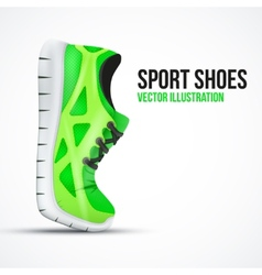 Running curved green shoes bright sport sneakers vector