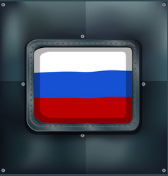 Russia flag on square frame vector