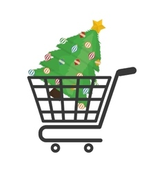 Shopping cart of merry christmas design vector