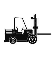 Silhouette truck forklift warehouse machine work vector