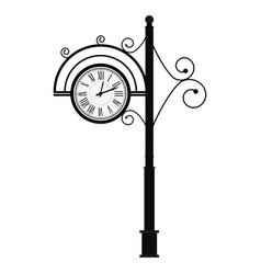 Street retro clock on pole vector
