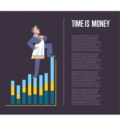 Time is money banner with businessman vector
