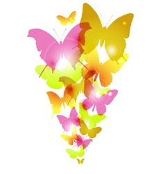 Watercolor butterflies design with flare vector