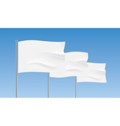 White flags waving on a blue sky background vector image vector image