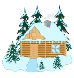 Wooden house in wood vector
