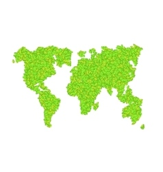 world map with leaves on a white vector image