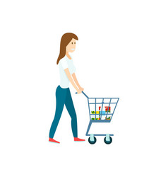 young woman with supermarket shopping cart vector image