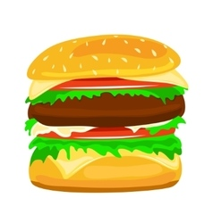 Hamburger food closeup vector
