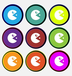 Pac man icon sign nine multi colored round buttons vector
