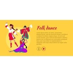 Folk dance conceptual flat style web banner vector