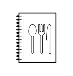 Recipe book with cutlery kitchen vector