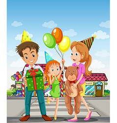 A happy family at the pedestrian lane vector image