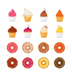 Donut cupcake icon vector