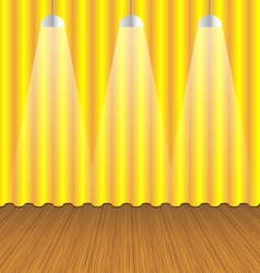 Room with gold curtain and wooden floor vector