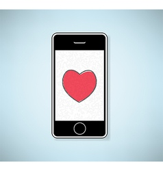 Phone show heart valentines day background vector
